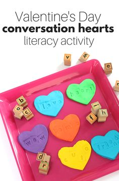 Valentine's Day Literacy Activity – Play Dough Conversation Heart Stamping