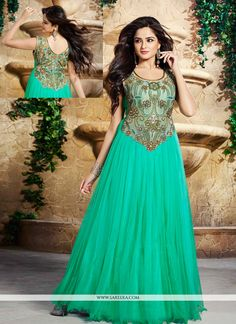 Sea green net and satin designer gown lining designed with embroidery, resham, zari, bead, lace and patch border work. Available with matching santoon bottom and chiffon dupatta. (Slight variation in ...