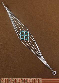 photo Silver Blue Turquoise Basket Weave Bracelet