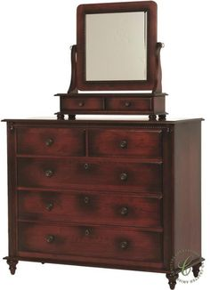 The Clair de Lune Dressing Chest includes an adjustable beveled mirror atop two felt-lined drawers, perfect for storing jewelry and accessories.