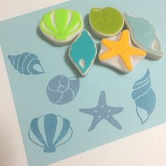 貝殻のはんこ Handmade Rubber  Sea Shell Stamps