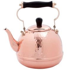 Solid Copper Hammered 2-quart Tea Kettle with Wood Handle | Overstock.com Shopping - The Best Deals on Tea Kettles/Teapots