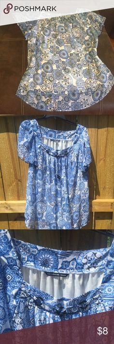 PlusSize 1X Zac and Rachel Short-sleeved Blouse Cleaning out my closet! PlusSize 1x polyester blue print blouse looks great with denim. Easy care. No ironing needed. Zac and Rachel Brand. Zac and Rachel Tops Blouses