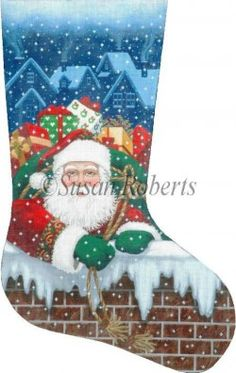 World-class Needlepoint - Santa Pops In - 18 Count Hand Painted Needlepoint Stocking Canvas Hand Painted Canvases  sc 1 st  Pinterest & Elegant Santa -Tapestry Tent Susan Roberts | Needlepoint ...