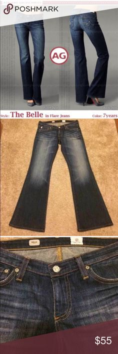 AG Adriano Goldschmied The Belle Flare 7 Yr 28 AG The Belle Flare Jeans in 7 Yr wash, size 28.  Distressed. AG Adriano Goldschmied Jeans Flare & Wide Leg