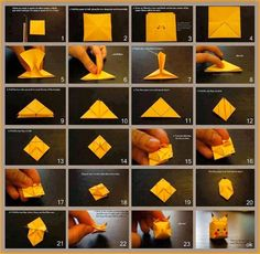 Are you a Pokémon fan? Or your kids are fond of Pikachu? These Pikachu origami tutorials are for all the Pokémon fans out there, just like you. First of all, you need a square piece of origami paper… Continue Reading → Origami Design, Origami Ball, Instruções Origami, Cute Origami, Origami Fish, How To Make Origami, Origami Butterfly, Useful Origami, Paper Crafts Origami
