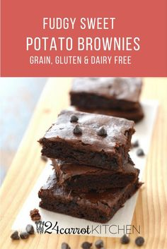 Fudgy Sweet Potato Brownies - These brownies are delicious, easy and healthy!  Click for recipe or pin for later!  Paleo, gluten free, grain free, dairy free, oil free, egg free, vegan!