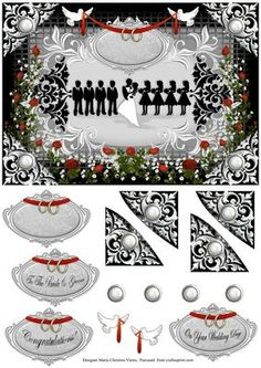 Bridesmaids and Groomsmen 6x8 on Craftsuprint designed by Maria Christina Vieira  - Bridesmaids and Groomsmen 6x8,Wedding Card front 6x8,A very elegant Black and White Wedding quick card approx.6x8,Comes with two labels, one a blank and one with text-(On Your Wedding Day), and some decoupage pieces. - Now available for download!