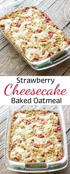 Baked oatmeal loaded with strawberries and a cheesecake swirl.