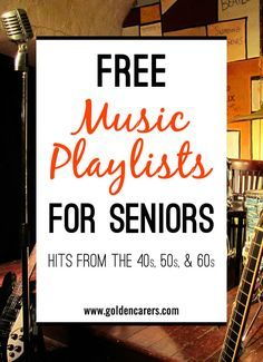 Music therapy Music has been proven to be very beneficial for the elderly in long term care, particularly those living with dementia or Alzheimer's Disease. Here are some wonderful free playlists of famous songs from the Alzheimer Care, Dementia Care, Alzheimer's And Dementia, Dementia Crafts, Vascular Dementia, Alzheimer's Dementia, Assisted Living Activities, Nursing Home Activities, Senior Citizen Activities