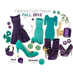 """Pantone Fall 2013 Color Report - Acai & Emerald"" by ovaryaction on Polyvore #pantone #fall2013 #emerald #acai"