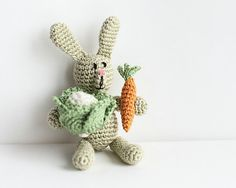 Easter Crochet Miniature  Light green  RABBIT  with Carrot and Cabbage - crochet art doll , toy