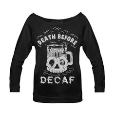 Women's Death Before Decaf Raglan by Pyknic (Black) I really want this!