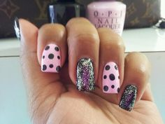 Black and pink nails with polka dots and glitter