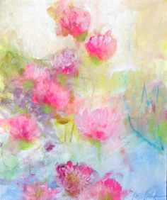 """Soft Abstract Floral Light Cheerful Original Flowers on Canvas, by Kerri Blackman """"Pink Clover"""" 20x24"""