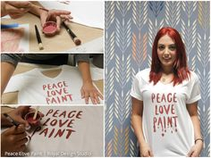 Stenciled Tshirt. A great DIY gift idea for yourself or a friend. Primer Red Chalk Paint® and typography stencils from Annie Sloan Stockist Royal Design Studio