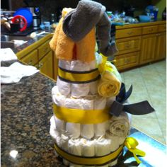 Grey and yellow elephant diaper cake. I'm proud of myself on this one!