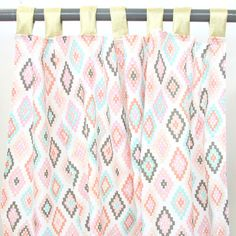Alexis' Aztec girly tribal tabbed top nursery curtains