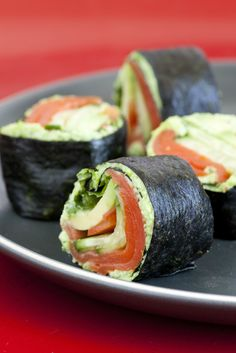 Smoked Salmon Nori Rolls made with Edamame Wasabi spread. Nori contains nutrients that support thyroid function and provide many other health benefits.   VibrantMethod.com Approved
