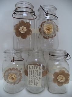 Yellow Cream Burlap Mason Jar Wedding Wraps by BurlapBrides, $60.00