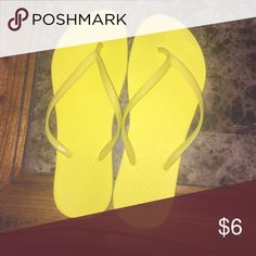 Bright yellow flip flops. Simple yellow flip flops. Gently used. No damages   Fast shipper: same or next day shipping guaranteed. Willing to do price adjustments! Old Navy Shoes Sandals