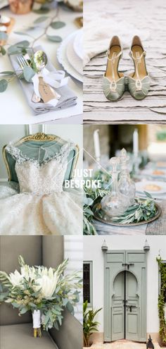 A selection of images to inspire. Luxury sage green styling, tablescape, table decor and floral bouquet idea. Green Gold Weddings, Sage Green Wedding, Neutral Wedding Colors, Wedding Color Schemes, Green Wedding Decorations, Luxury Wedding, Wedding Gold, Wedding Set, Wedding Ideas