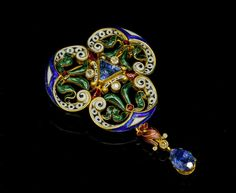 Falize enamel and sapphire brooch, France, ca. 1880, sapphires, diamonds, enamel, 18k gold, 5.6 x 3.5 cm, 25.6 g