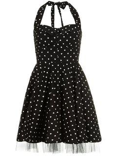 Black heart print prom dress