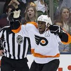 Love watching the Fliers because they have a black hockey player. There aren't  too many brothas on the NHL ice because it's too damn cold.