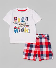 Buster Brown White 'Soar High' Tee & Plaid Shorts | zulily