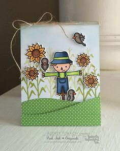 Audrey here with a fall card using one of my favorite Lawn Fawn fall themed sets, Happy Harvest . This card doesn't have a. Fall Friends, Lawn Fawn Stamps, Thanksgiving Cards, Fall Cards, Halloween Cards, Creative Cards, Kids Cards, Cute Cards, Greeting Cards Handmade