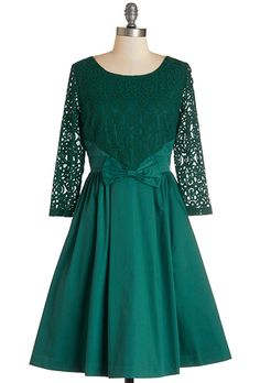 "Brides.com: . ""Tough Entre'acte to Follow"" dress in emerald, $124.99, Modcloth"