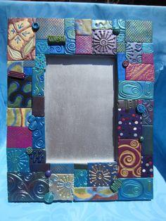 Polymer Clay Mosaic Frame (Blue). $29.99, via Etsy.