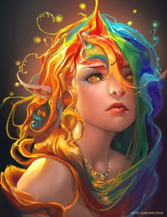 Rainbow by Sakimichan. I love how her hair is poured on. So colorful!