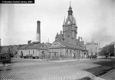 Dundee West Railway Station (New) - Ref: WC1037  This photograph by Alexander Wilson, the manager of a Dundee jute finishing factory, shows the third Dundee West railway station in South Union Street. At the righthand side, Union Street leads north to Nethergate and the City Churches. Dundee City, Scotland Travel, Great Britain, Barcelona Cathedral, Street, Building, Jute, Third, Photograph