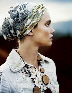 head scarf and necklace