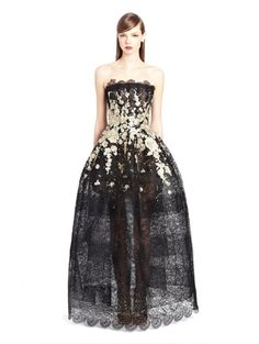 Falling Flowers Embroidered Lace Gown