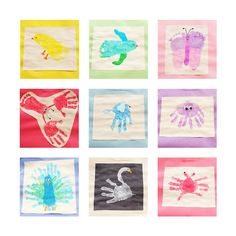 hand print / foot print / thumbprint crazy     1. chick  2. fish  3. butterfly  4. lobster  5. elephant  6. octopus  7. peacock  8. swan  9. crab