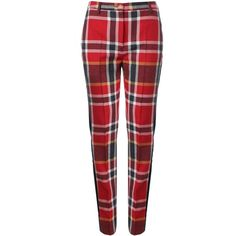 Vivienne Westwood Red Label Tartan Tuxedo Trousers (€530) ❤ liked on Polyvore featuring pants, red tuxedo pants, red pants, zip pants, tux pants and plaid trousers