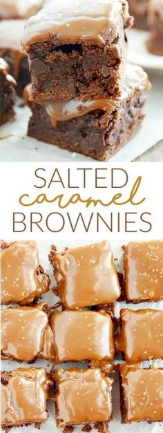 Salted Caramel Brownies – A great option for the caramel topping would be Nestle's Duce de Leche, which you can usually find beside the sweetened condensed milk or in the Hispanic section of the grocery store. Just Desserts, Delicious Desserts, Yummy Food, Yummy Dessert Recipes, Party Desserts, Yummy Treats, Sweet Treats, Salted Caramel Brownies, Caramel Deserts