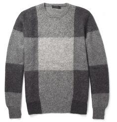 Alexander McQueen - Check Mohair and Wool-Blend Sweater | MR PORTER