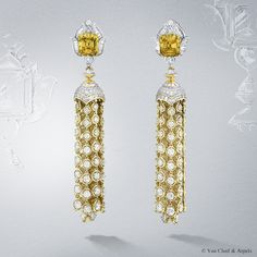 Van Cleef Yellow Diamond Drop Earrings #vancleef