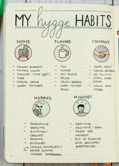 Do you want to incorporate hygge habits into your daily life? A starter list for hygge habits. Here's how to incorporate the art of hygge into your daily life. Feng Shui, Bujo, To Do Planner, Life Planner, Health Planner, Hygge Life, Hygge House, Bullet Journal Inspiration, Journal Ideas