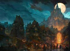 The commonfolk district of Herras Fantasy concept art Fantasy art landscapes Fantasy illustration