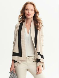 It's time for me to restock my cardigans...Colorblock Draped Open Cardigan  http://bananarepublic.gap.com/browse/product.do?cid=51420&vid=1&pid=686881012
