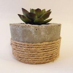 """4"""" Concrete Succulent Planter, Concrete Cacti Pot, Rustic Jute Twine"""