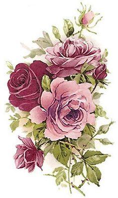 Xl shabby Rosas Cor De Rosa Chá decalques Waterslide ~ tamanho Móveis ~