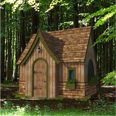 Storybook Playhouse Plan - could make larger for tiny house. Kids Playhouse Plans, Outside Playhouse, Backyard Playhouse, Build A Playhouse, Playhouse Kits, Simple Playhouse, Outdoor Playhouses, Backyard Sheds, Backyard Games