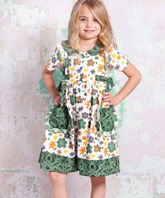 White & Green Monaco Laura Dress - Infant, Toddler & Girls by Jelly the Pug #zulily #zulilyfinds