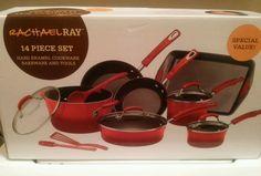 Rachel Ray Hard Enamel 14 Piece Non Stick Cookware Set RED .NEW .FAST SHIP in Home & Garden, Kitchen, Dining & Bar, Cookware | eBay